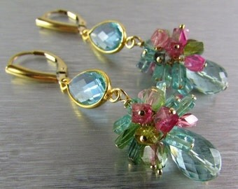 25% Off Summer Sale Aqau Blue Quartz with Tourmaline Cluster Gemstone Earrings