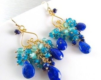 25% Off Summer Sale Lapis Lazuli and Apatite Chandelier Earrings