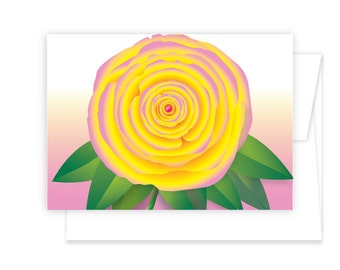 Rose Flower Greeting Card in three color options Pink, Red/Yellow or Pink/Yellow