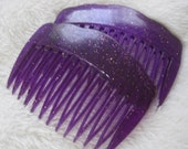 Vintage hair combs pair of purple combs with glitter