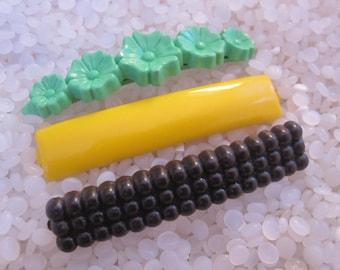 vintage  barrette plastic childs barrettes, yellow bar ,black bubbles, green flowers barrette, larger size
