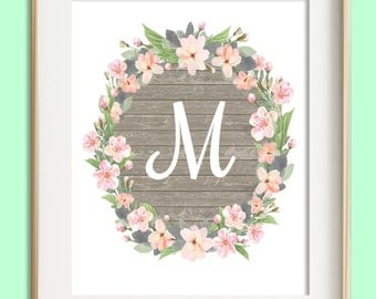 Letter M Printable, Instant Download, Baby Girl Nursery Wall Art, Girl Nursery Decor, Floral Monogram, Pink Mint Gray Letter Art, Baby Gift