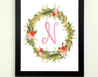 Letter N Printable, 8x10 Instant Download, Baby Girl Nursery Art, Nursery Wall Decor, Floral Monogram, Baby Girl Gift, Baby Shower Gift