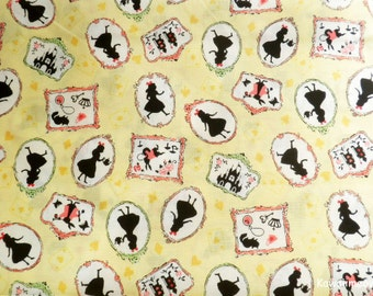 Japanese Fabric - Alice in Wonderland on Yellow - Half Yard (nu160201)