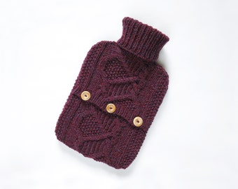 Bramble Hot Water Bottle Sweater / Cover-  100 per cent Scottish wool - Bramble. Hand Knit Bottle Cosy / Cozy.