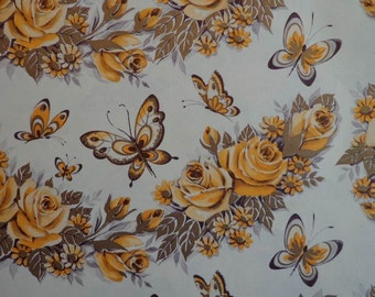 Vintage 1950s Gift Wrap All Occasion Floral Print- 1 Sheet Wrapping Paper Golden Roses & Butterflies