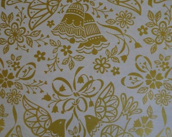 Vintage Wedding Gift Wrap 1970s Wrapping Paper Golden Doves & Bells- 2 Sheets NIP