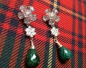VALENTINES SALE Emerald Long Drop Earrings Emerald Gemstone CZ Diamond Look Post Black Tie Earrings Evening Holiday Fashion Emerald Green Di