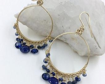 SUMMER SALE Blue Gemstone Hoop Earrings Kyanite Blue Lapis Beaded Gold Filled Hoop Earring Wire Wrap Blue Gemstone Gold Hoops Handmade Luxur