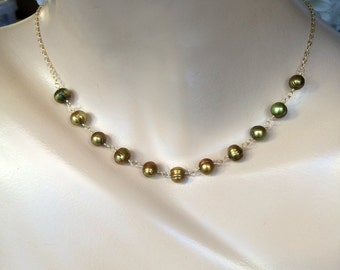 Green Pearl Necklace Wire Wrap 14kt Gold Fill Olive Green Freshwater Pearl Choker Layering Necklace  Bridesmaid