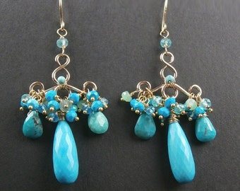BLACK FRIDAY SALE Turquoise Earrings Wire Wrap Gold Filled Handmade Chandelier Earrings Turquoise