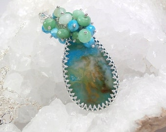 50% OFF SALE Turquoise Chrysoprase Necklace Plume Agate Long Layering Necklace Bezel Set Gemstone Cluster Necklace Colorful Gemstone Pendant
