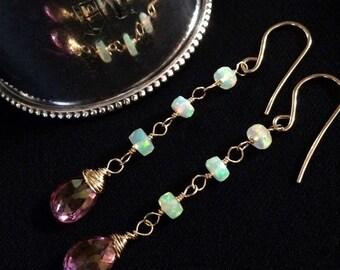 CUPID SALE Pink Topaz Opal Long Dangle Earrings Ethiopian Welo Fire Opal Earring 14kt Gold Fill Long Chain Dangle Earrings AAA Faceted Ethio