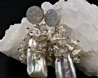 Boho Silver Wedding Earring Biwa Pearl Cluster Earring Wire Wrap Blush Biwa Pearl Ivory Druzy Post Earring Romantic Bohemian Keishi Cluster
