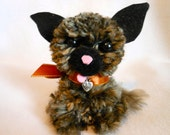 Little Dog Handmade with Pom Poms in Black and Tan Acrylic Yarn, Canine, Dog Lover, Pet, Fuzzy, Metal Tag