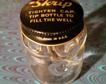 Collectable Vintage Script Ink Bottle Glass with Interior Inkwell and Metal Screw-up Lid with Logo Printed