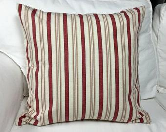 Red/cream stripe pillow cover