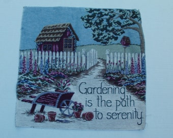 Large Woven Tapestry Fabric Panel Gardening Theme Fence Flowers, Birdhouse Wheelbarrow Shed
