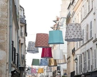 Paris Photography, Lanterns on Rue de Seine, left bank Paris, soft blue and grey tones,  French Decor, Paris Wall Art, Parisian Street