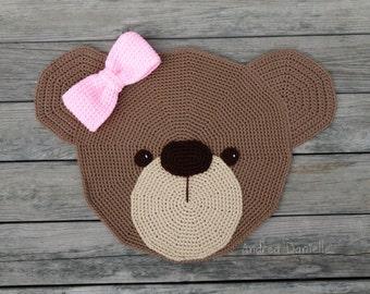 Crochet Bear Rug: Cool Brown, Dark Brown, Pink