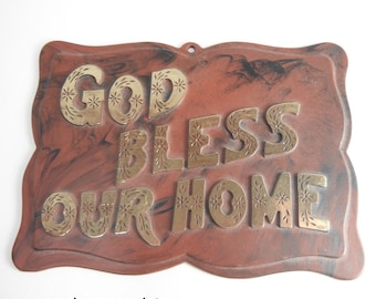 Vintage 'God Bless Our Home' Sign Mid Century Kitsch Plastic Wall Decor Novelty Gag Gift Housewarming Present Trailer Decor 1960s Plaque