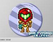 "Super Smash Bros SAMUS ARAN Metroid Pixel Art 1.5"" Pin Button or Magnet"