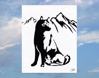 Husky Paper Cut Silhouette Wall Art Paper Cut Art 8X10 Unframed
