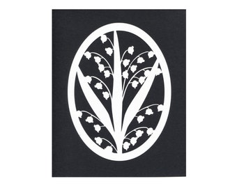 Lilies of the Valley Silhouette Wall Art Paper Cut Art Black White 8X10 Unframed