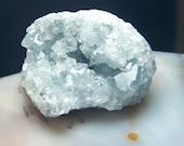 Celestite geode - Crystal cluster - natural light blue gem mineral specimen - druzy lapidary supply Celestine celestialite coyoterainbow k1x