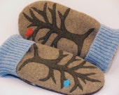 Wool Mittens Sweater Mittens Up Cycled Wool with Tree and Birds Applique Fleece Lining Leather Palm Up Cycled Eco Friendly Size M-M/L