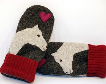 Felted Wool Mittens Horse Sweater Mittens in Dark and Red Horse and Heart Applique Fleece Lining Leather Palm Eco Friendly Size M