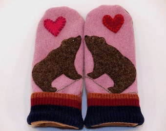 Recycled Bear Mittens Felted Wool  Pink and Brown with Applique and Leather Palm Eco Friendly Upcycled Size S