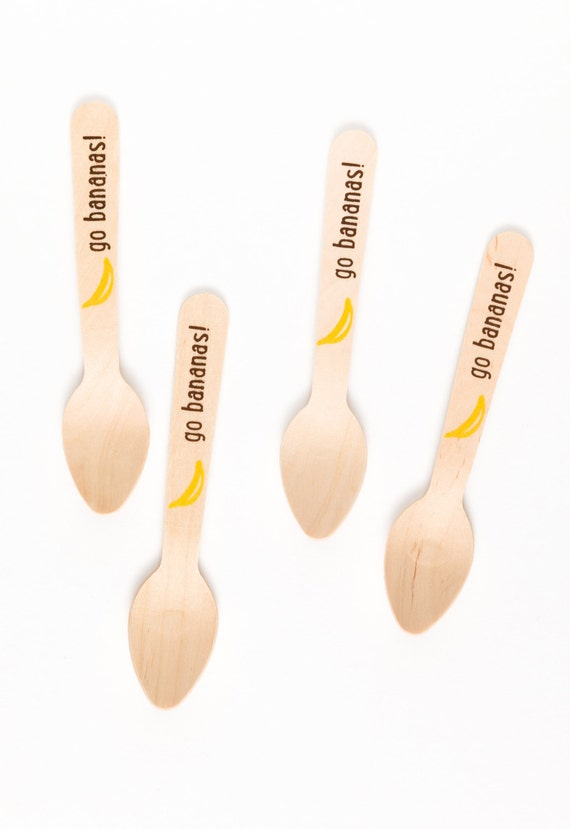 Go Bananas - Sock Monkey Party - 20 Wooden Ice Cream Spoons - Eco-friendly Wooden Utensils