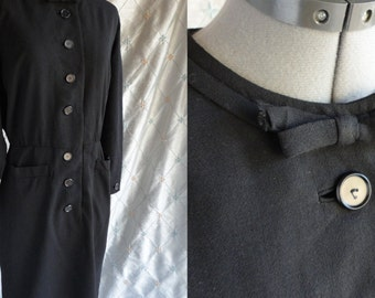 "40s 50s Dress // Vintage 1940's 1950's Black Virgin Wool Dress by Nicholas Ungar Size L 31"" waist  Forstmann 100% virgin wool"
