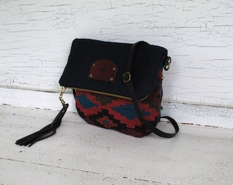 Small Waxed Canvas & Tribal Weave Mini Messenger Cross Body Purse, Shoulder Bag, Festival Bag