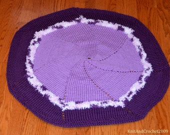 Purple and White Knit Round Baby Blanket, Baby Accessories, Baby Shower Gift