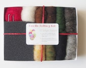 Needle Felting Kit, Starter Kit for Beginners, DIY Craft, Wool Craft, Earth tones, Wool Supplies, Learn how to needle felt, Woodland Colors