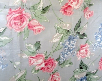 Vintage Fabric Pink Roses  polished Cotton Fabric 3+ yards
