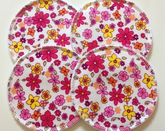 2 Pairs of Cloth Nursing Pads - Pink and Yellow Flowers