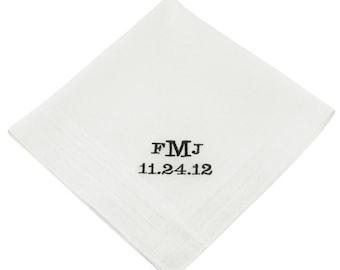 Block Monogram Groom's Wedding Handkerchief - CH2015