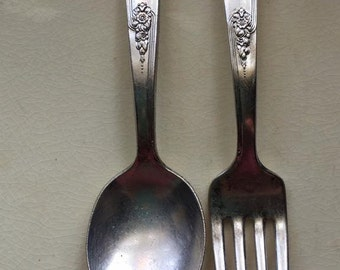 Vintage Holmes and Edwards I S Baby spoon and fork Set  - Youth - International Silver - - 30's- set
