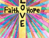 Inspiration Cross Art Quilt, Christian Inspiration Quilt, Faith/Love/Hope Wall Hanging, Quilted Wall/Door Hanging, Christmas Gift