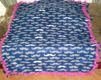 Gray White Mustaches on Navy Blue Hot Pink Back Fleece Tie Blanket No Sew Fleece Blanket 60x72 Approximate size
