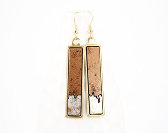 Modern Geometric Dangle Earrings - Two-Tone Glossy Laminate - Laser Cut Irregular Edge Design in Brass Setting (Textured Silver & Copper)