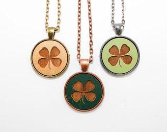 Shamrock Pendant - St. Patrick's Day Necklace - Laser Engraved Wood (Custom Made / Any Color)
