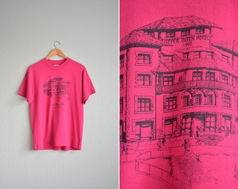 SALE // Size M // COPPER QUEEN Hotel T-Shirt // Hot Pink - Short Sleeve - Graphic Tee - Bisbee, Arizona - Vintage '80s/'90s.