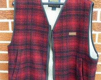 Mans Woolrich hunters red black plaid wool vest
