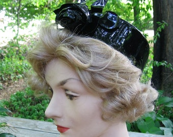 Vintage Black Vinyl Pillbox Hat Black Vinyl Rose & Leaves Accent White Satin Lining Unique Funky 1960s Era Day Accessory 22 in Head Size