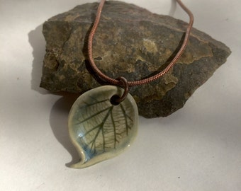 Hazelnut Leaf Porcelain Necklace from the Forest with a Brass snake chain by Sabrina Leaf