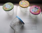 4 Retro Jelly Jars * Quilted Ball Jars * 1960's 70's Kitchen Jars *  Vintage Kitchen * Storage *